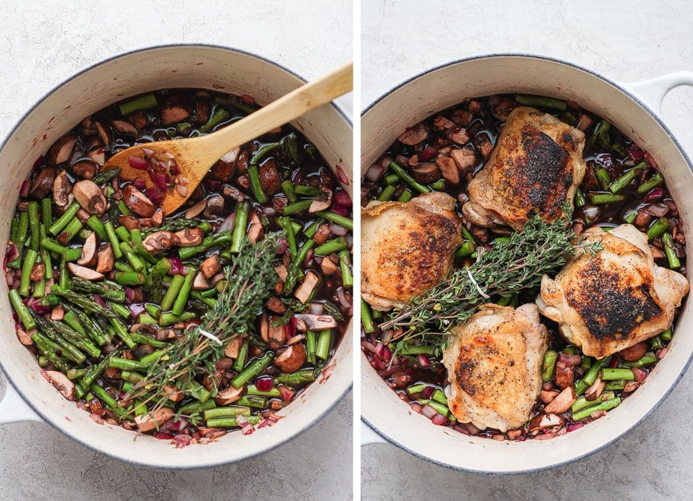 All of the ingredients in a dutch oven