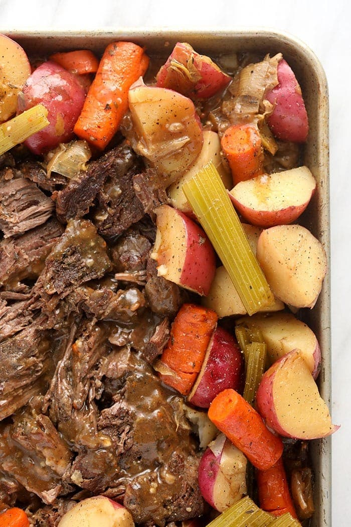 instant pot pot roast cooked and ready to be served