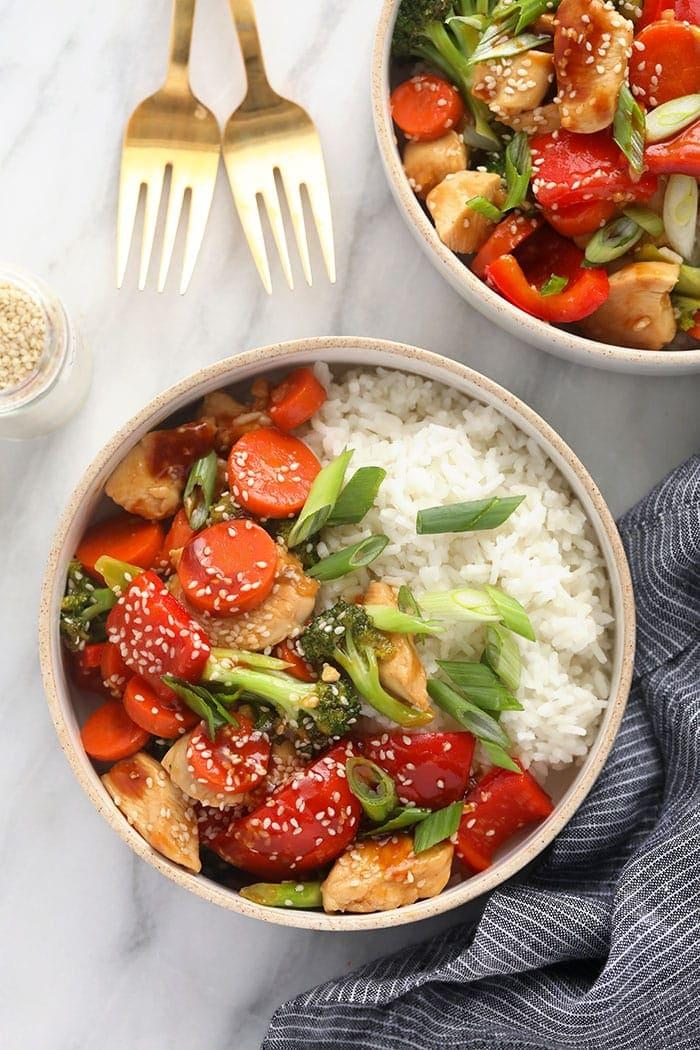 Chicken teriyaki in a bowl