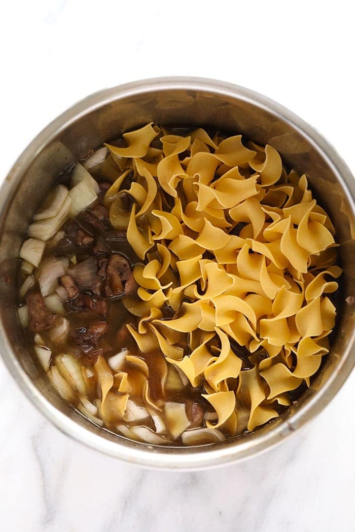 instant pot beef stroganoff egg noodles ready to be cooked