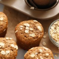 classic oatmeal muffins topped with rolled oats