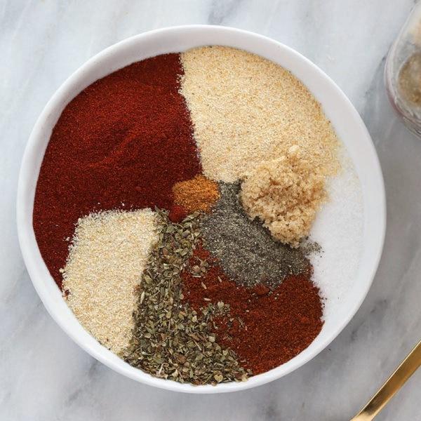homemade cajun seasoning ingredients on a plate