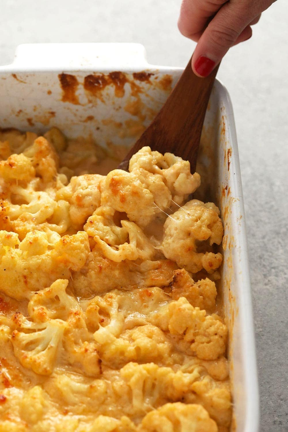 cauliflower mac and cheese in a casserole dish