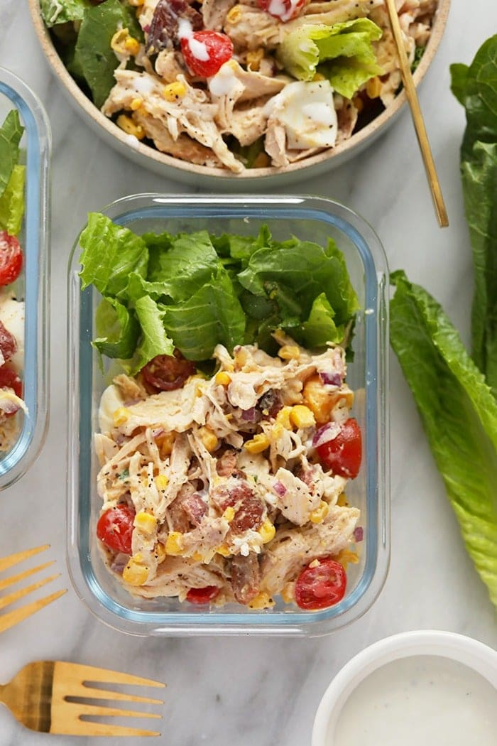 rotisserie chicken cobb salad in a meal prep container