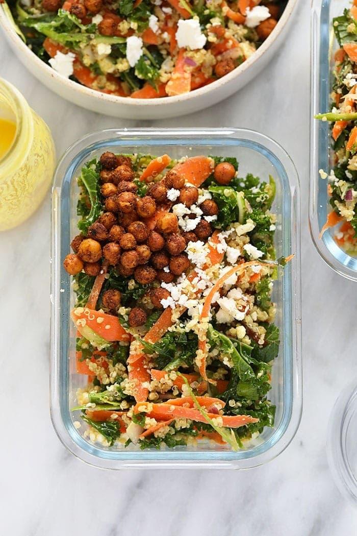 Moroccan quinoa salad in a meal prep container