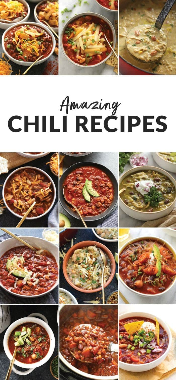 A round up image of chili recipes