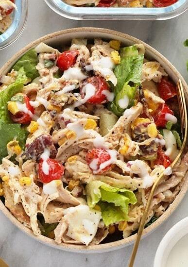 rotisserie chicken cobb salad in a bowl