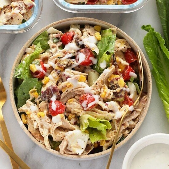 rotisserie chicken cobb salad in a bowl