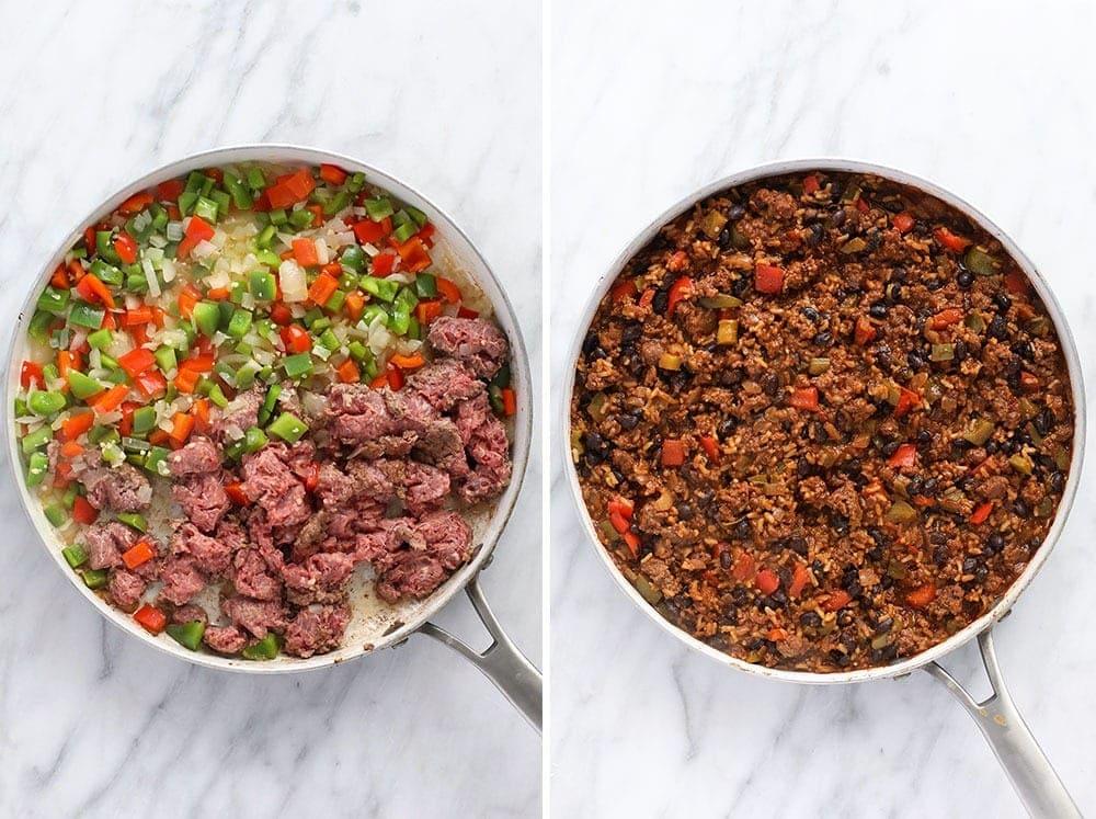 beef skillet in pan