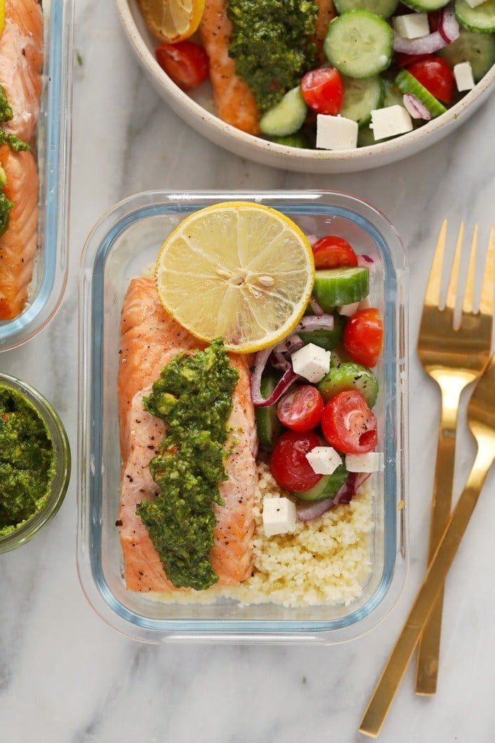 salmon meal prep in glass container