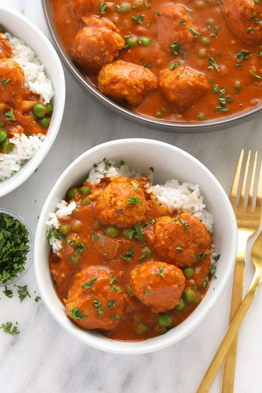 Tikka Meatballs in a bowl!