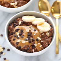 chocolate peanut butter overnight oats in a bowl