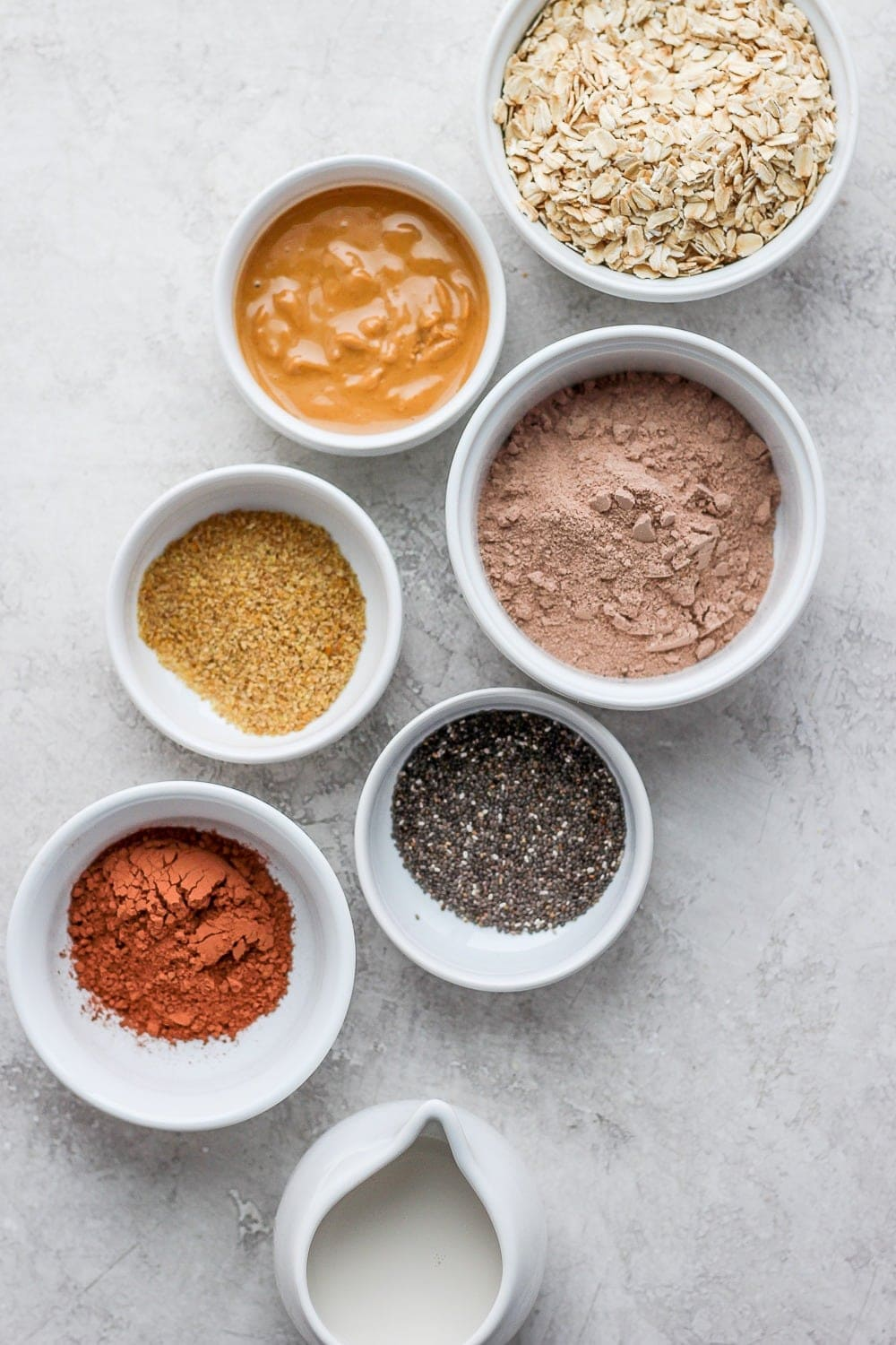 chocolate sea salt protein oatmeal ingredients in bowls