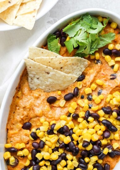 vegan street corn queso in a bowl