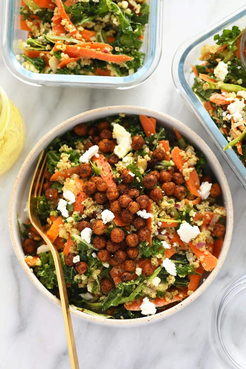 A photo of Moroccan quinoa salad in various dishes