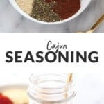 cajun seasoning in a glass jar