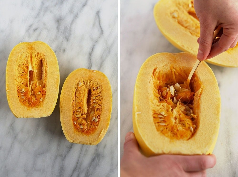 Scooping out the innards of spaghetti squash