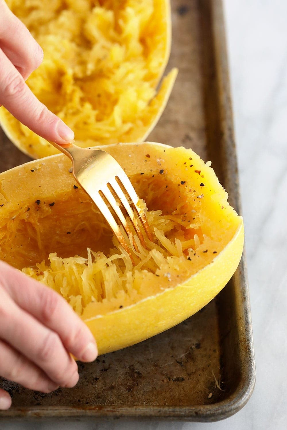 Softening spaghetti squash into noodles