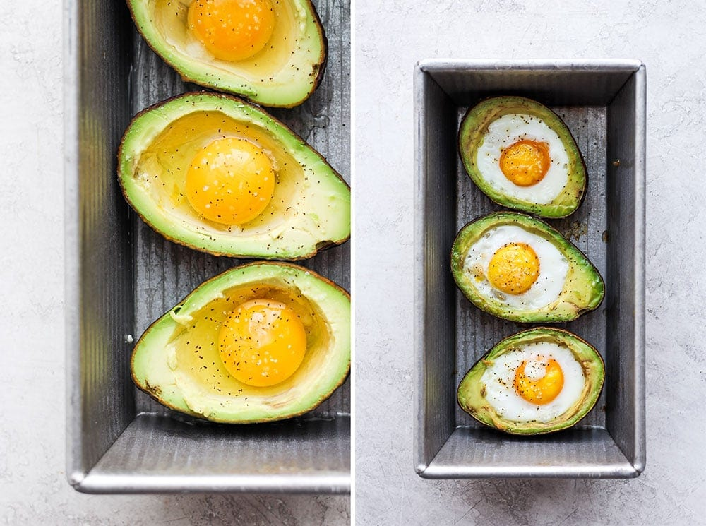 Before and after of avocado baked eggs