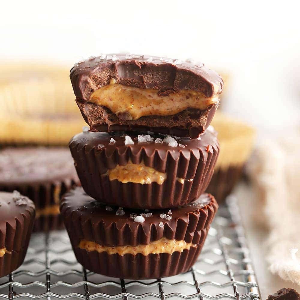 stacked almond butter cups