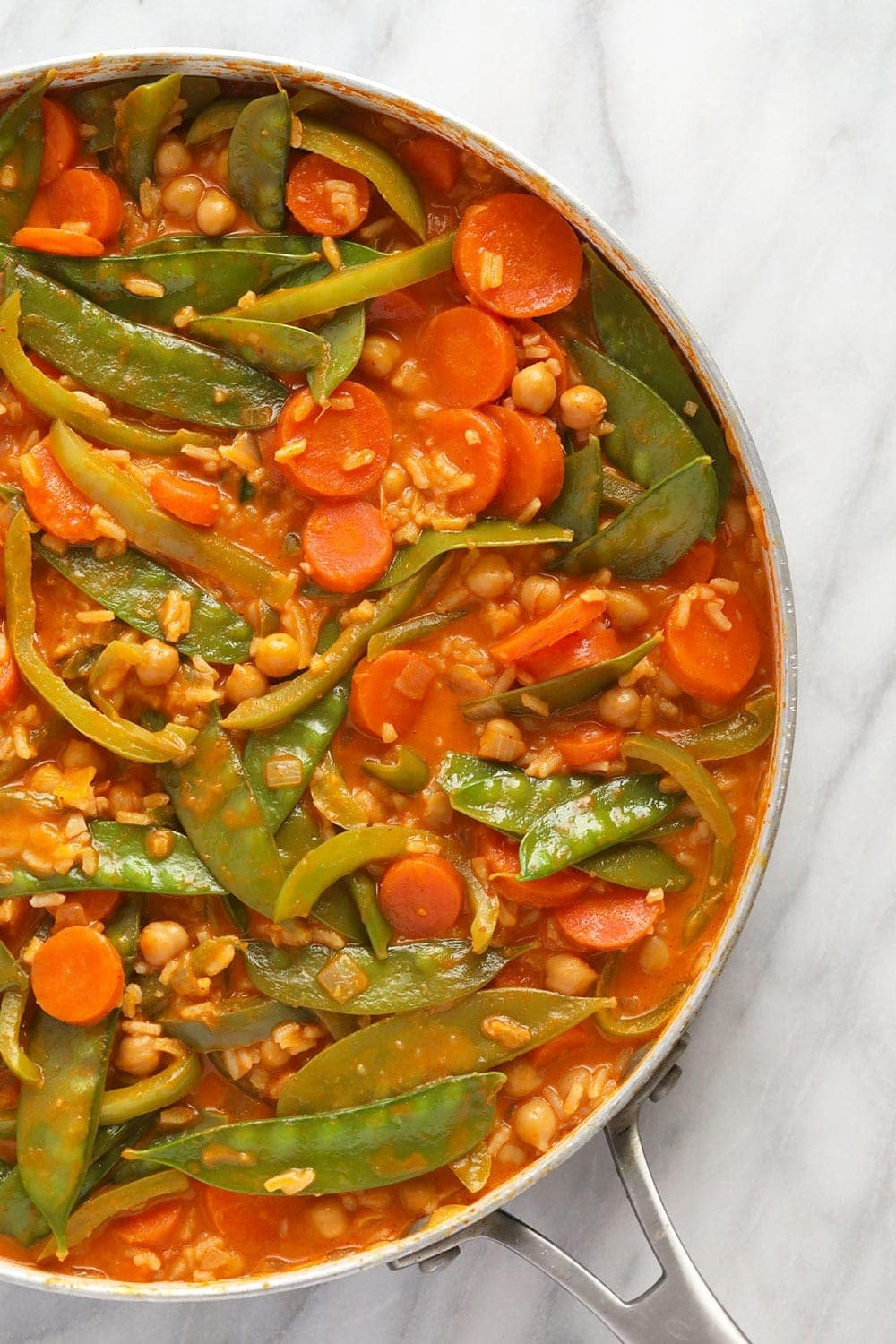 Vegetarian Thai Curry in a skillet