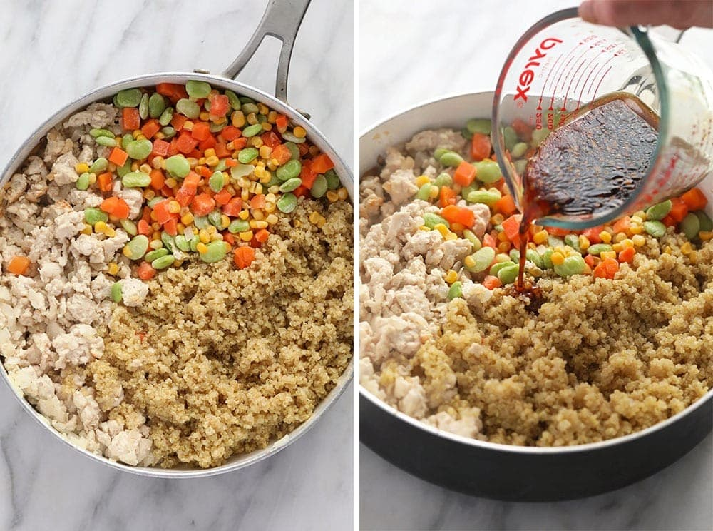 the process of making chicken fried quinoa