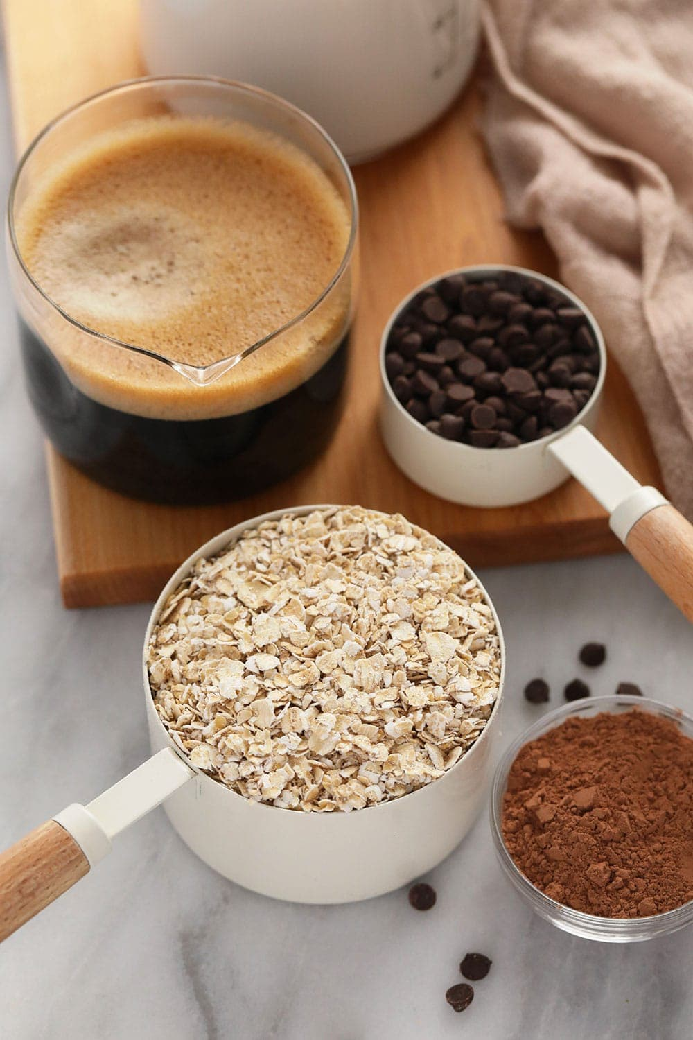 quick mocha overnight oats ingredients ready to be mixed