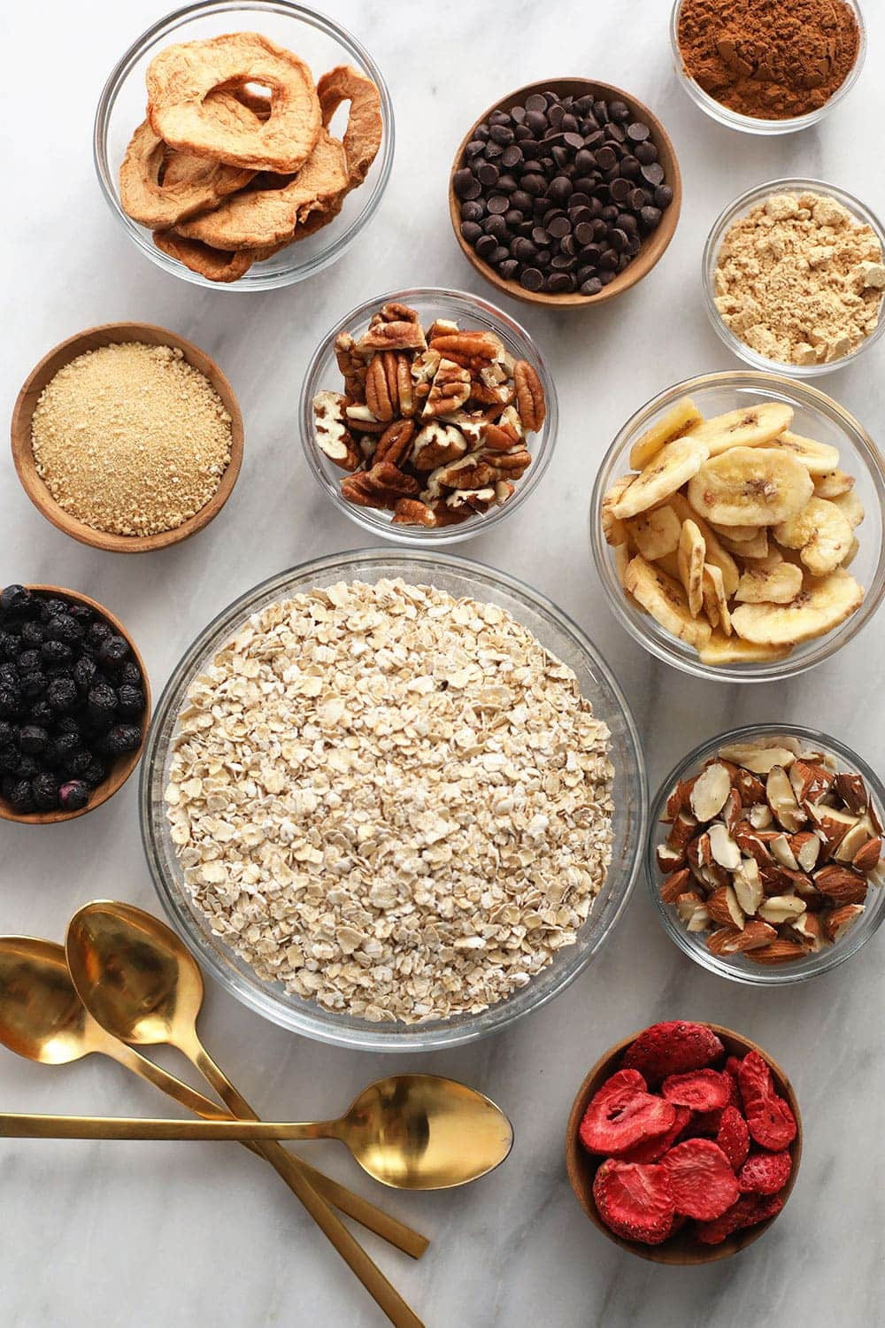 instant oatmeal and ingredient toppings ready to be mixed into delicious oatmeal