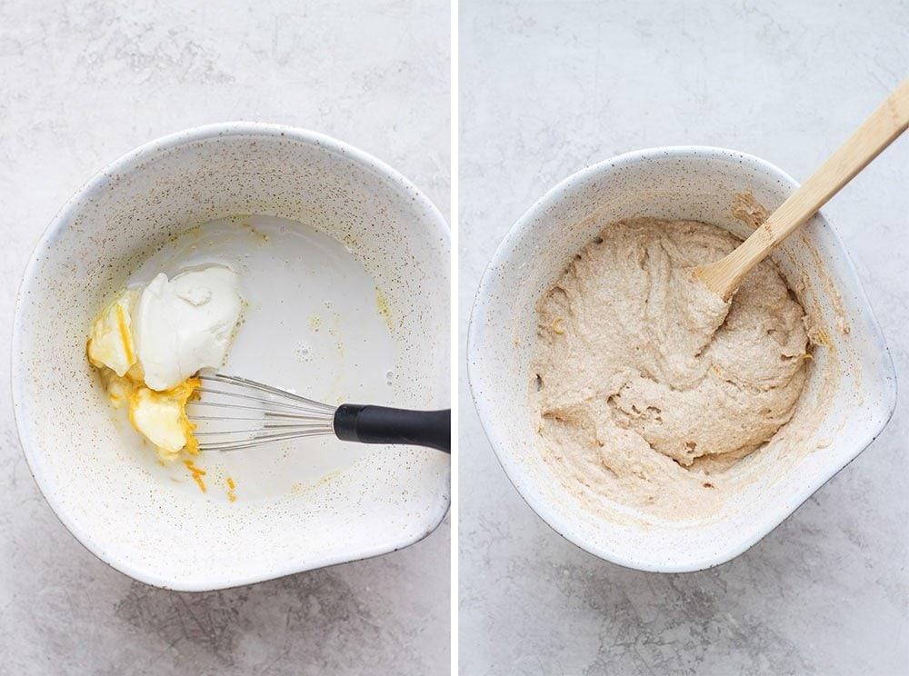 healthy lemon ricotta pancake batter in a bowl