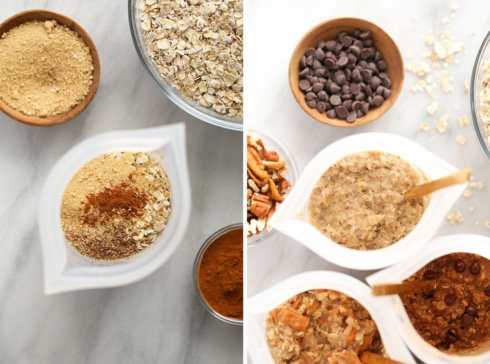instant oatmeal 4 ways in bowls and ready to be eaten