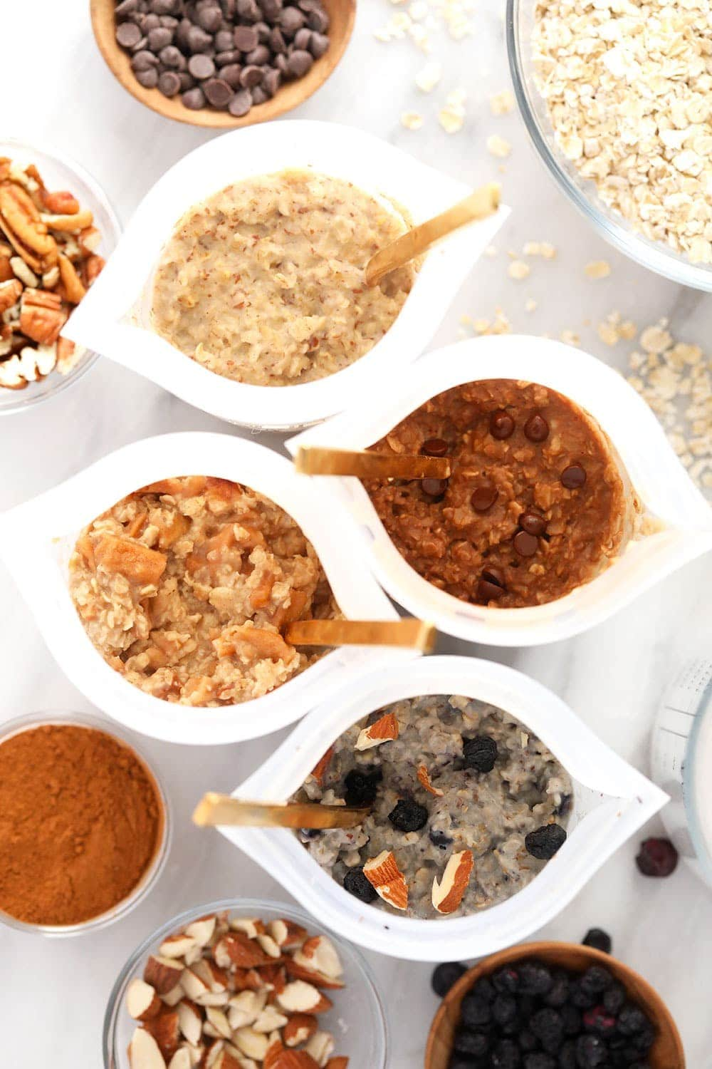 instant oatmeal 4 ways mixed in bowls and ready to be eaten