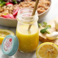 homemade lemon vinaigrette dressing in a jar