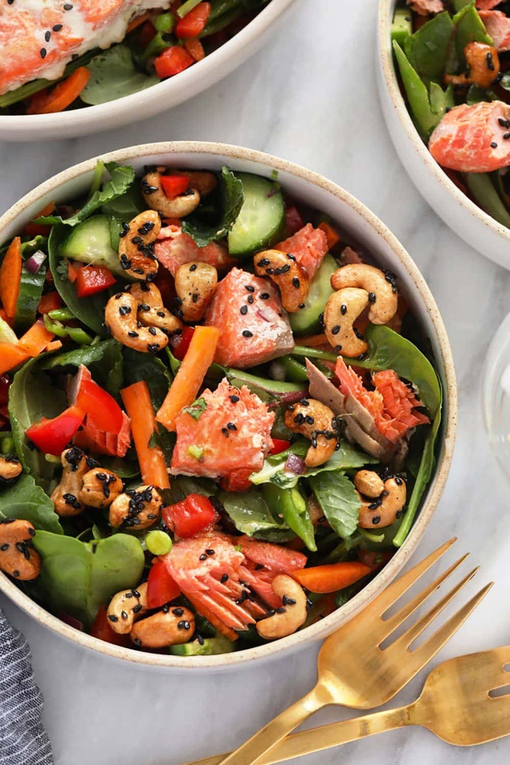 Thai salmon salad in bowl