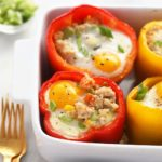 chicken fried quinoa stuffed pepper