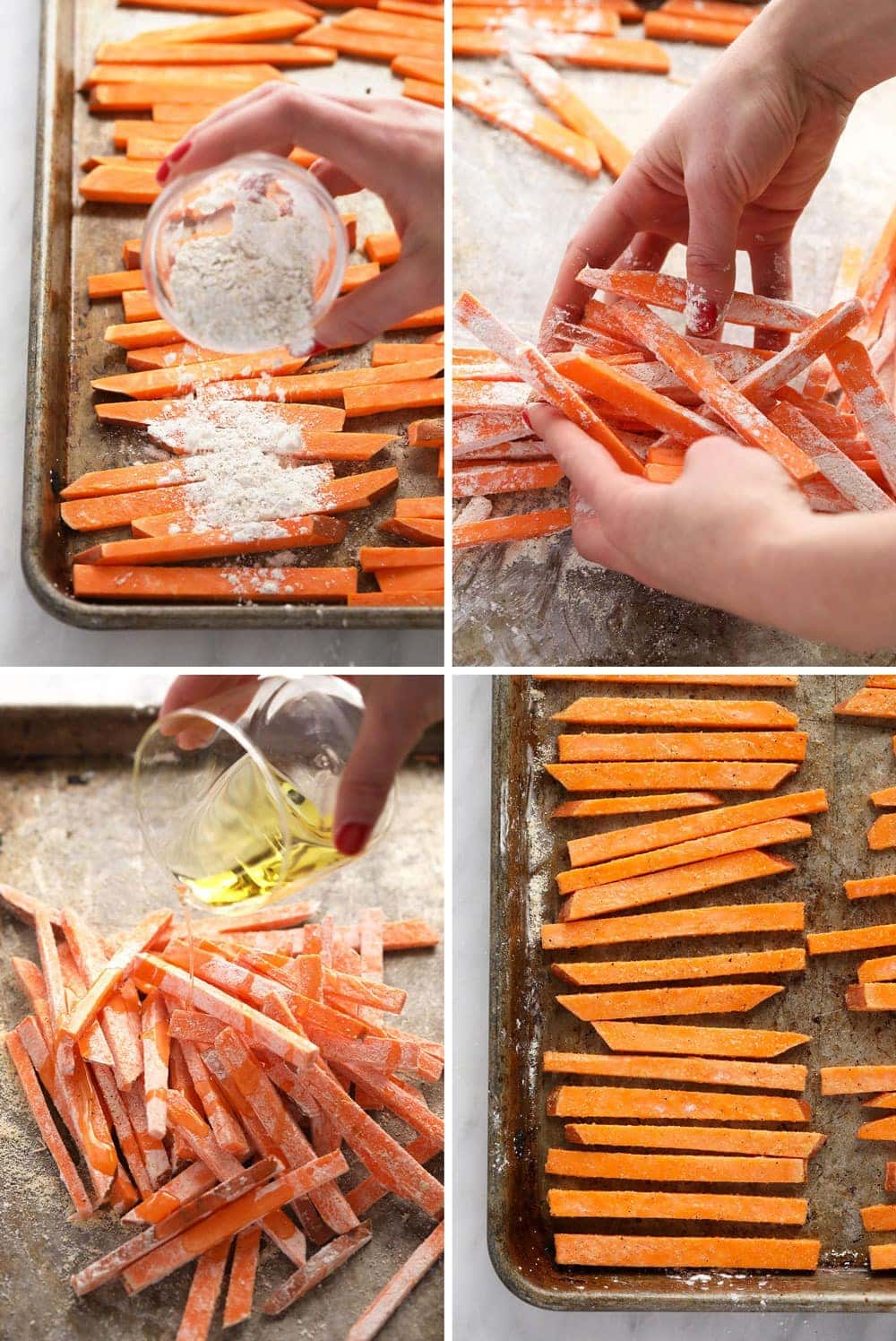 The process of making sweet potato fries