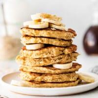 stack of banana oatmeal pancakes