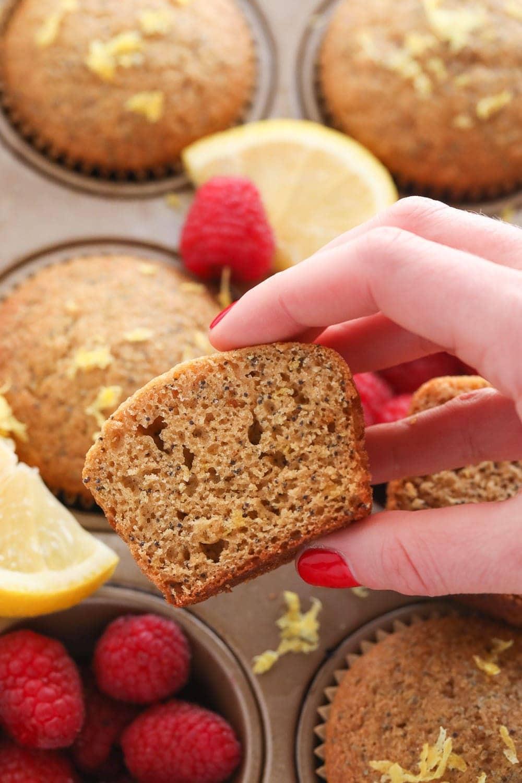 lemon poppy seed muffin cut in half
