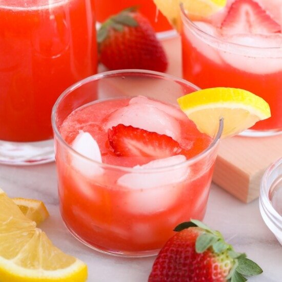 strawberry vodka lemonade in a glass