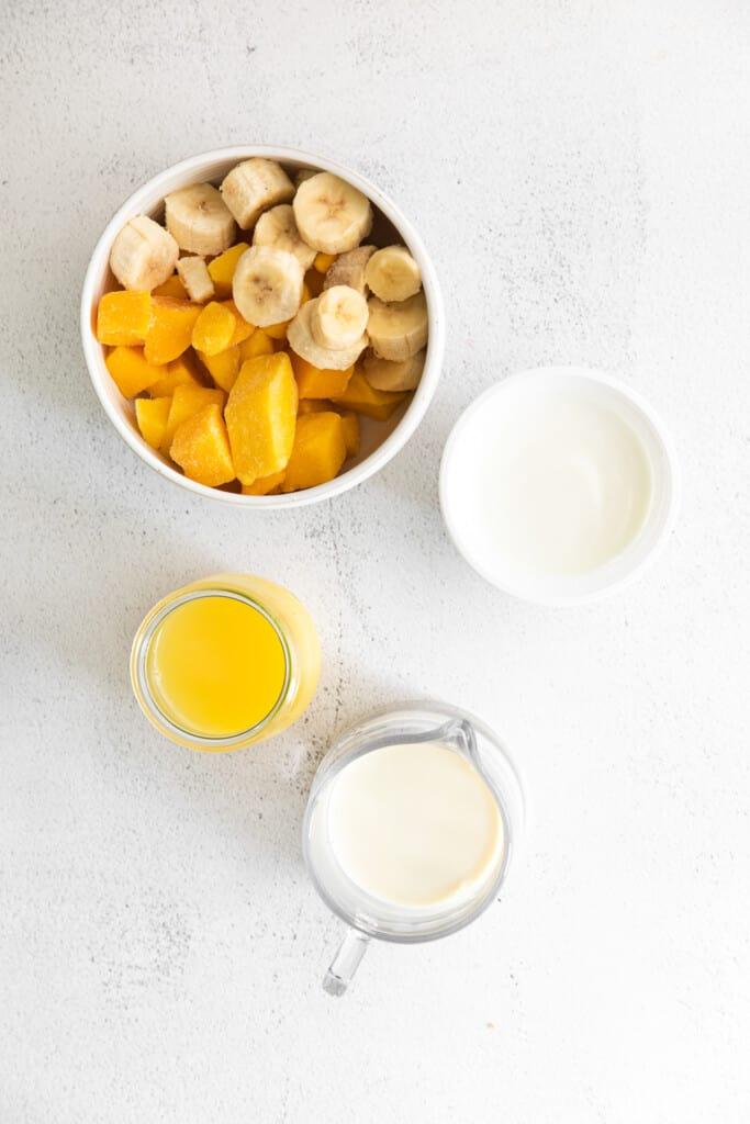 Frozen Mango, frozen banana, and other ingredients