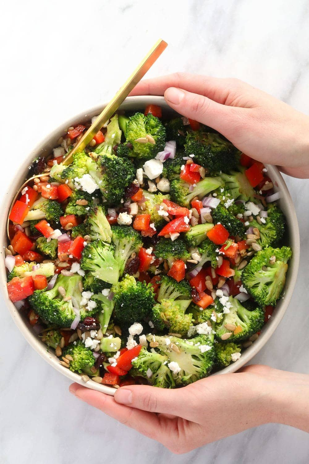 broccoli salad in a bowl ready to be served
