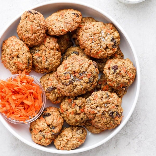 Carrot cake cookies on a plate