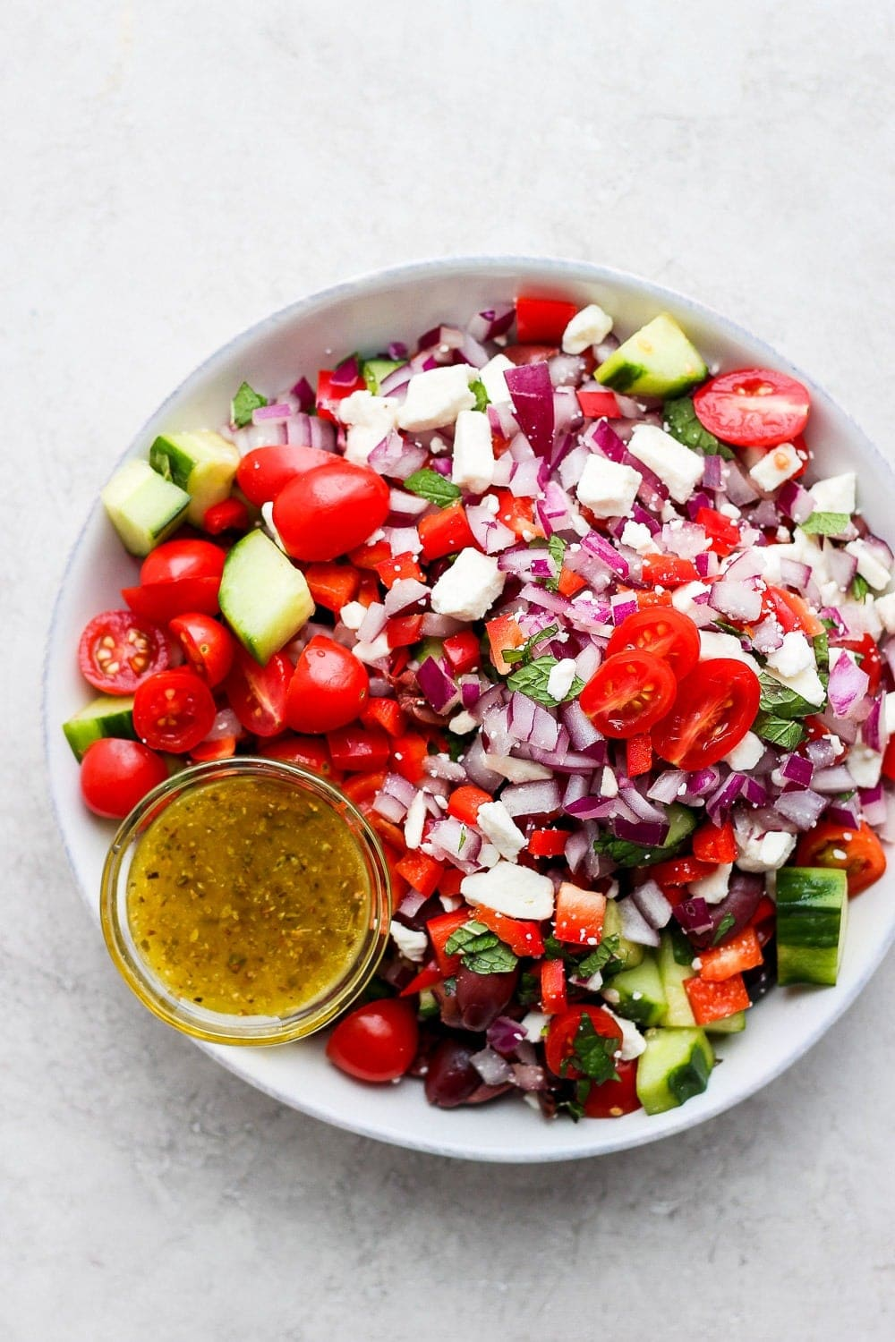 Greek salad in a large bowl