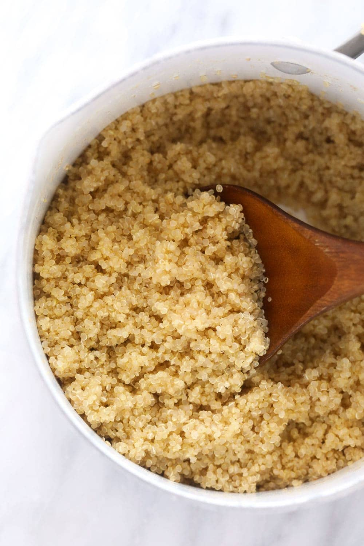 fluffy quinoa in pot