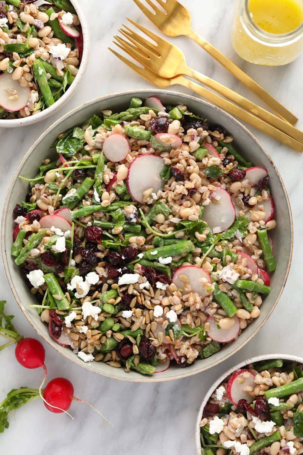 Farro salad in a serving bowl