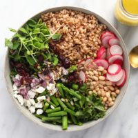 Farro salad in a bowl