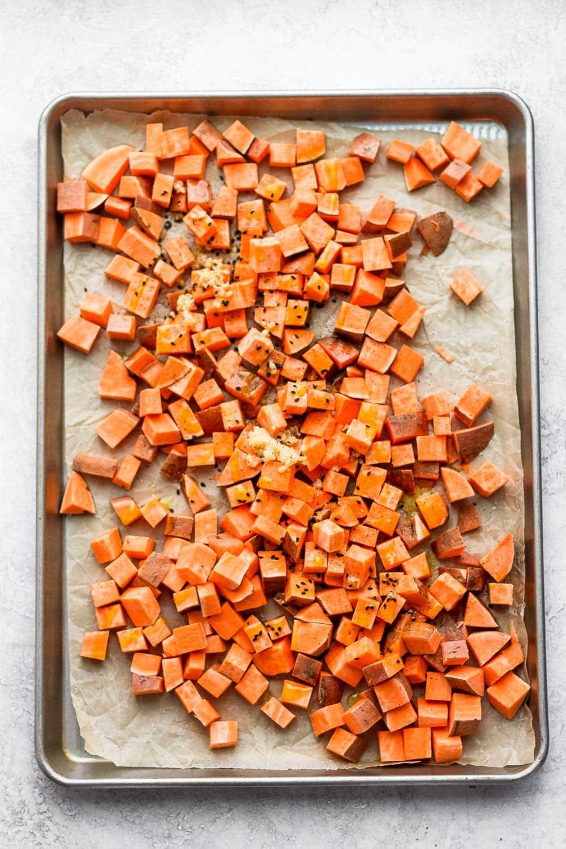 roasted sweet potato on pan