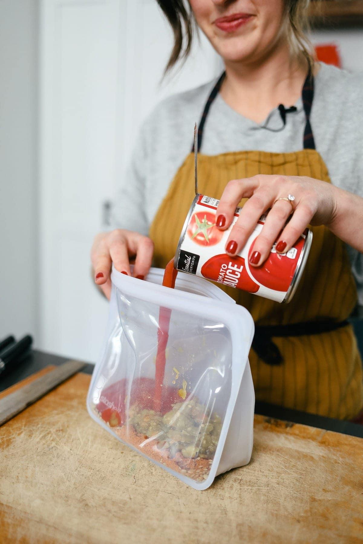 Preparing Instant Pot Lenti Tacos