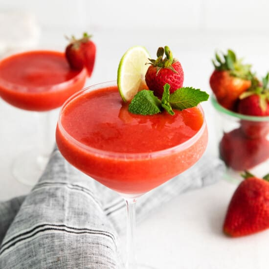 strawberry daiquiri in glass