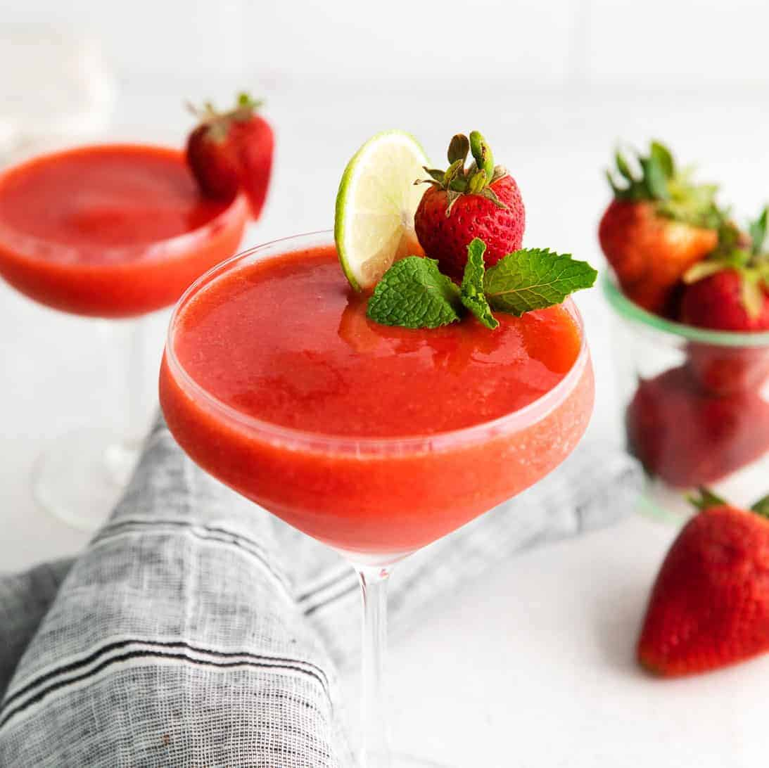 strawberry daiquiri in glass