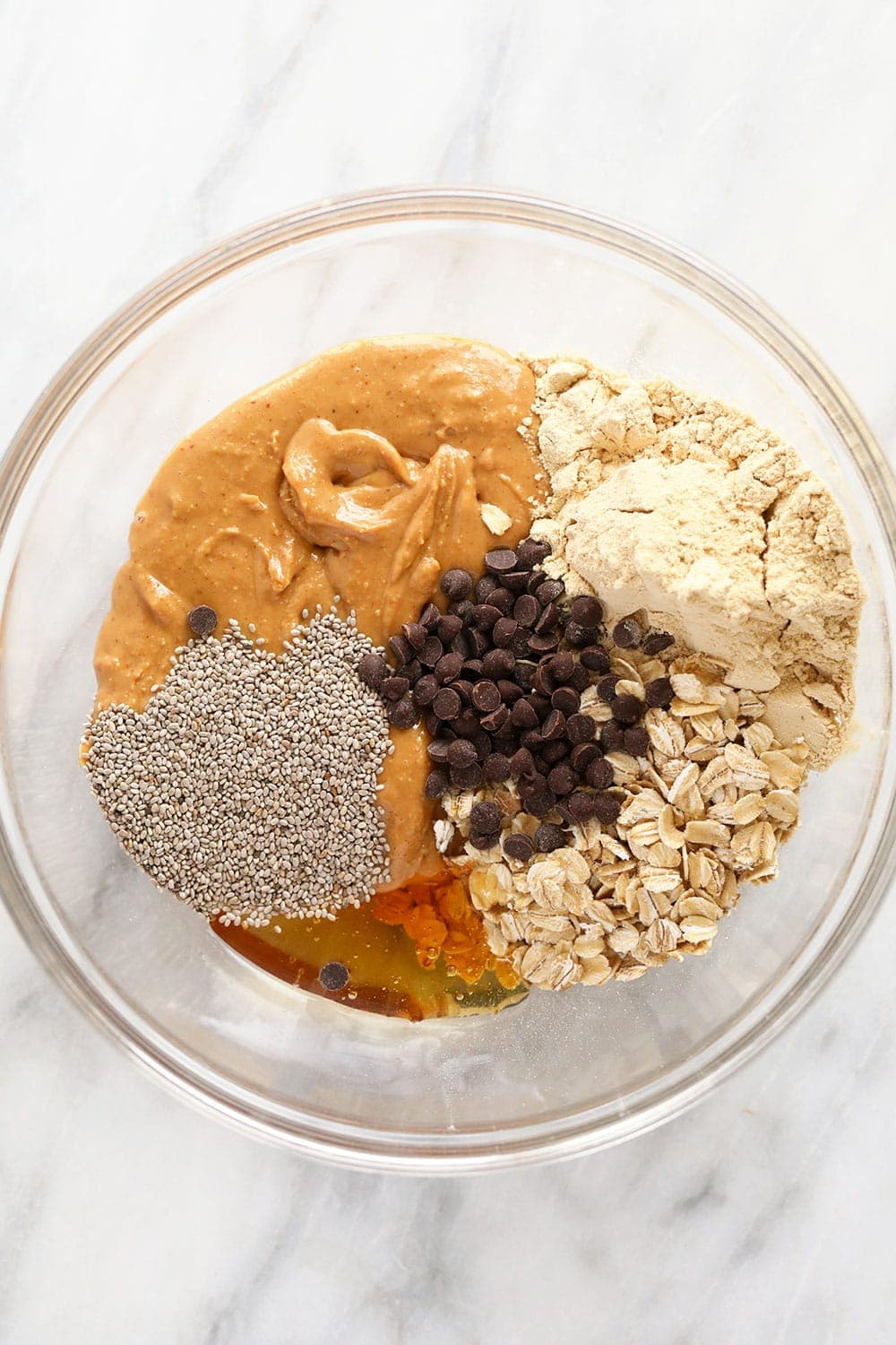 All the ingredients for peanut butter protein balls